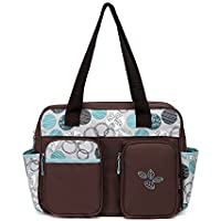 Javababy かわいい マザーズバッグ トートバッグ 大容量 ママバッグ 軽量 おむつ替えシート付 ベビー用品収納 木の葉(ブルー)