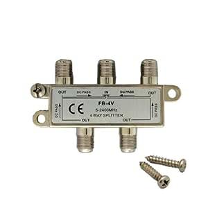 デジタル放送対応 アンテナ4分配器 全端子電通型 地上・BS・CS対応