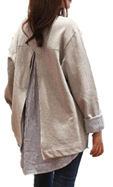 [ディアアンナ] 重ね着風 背中 スリット ストライプシャツをチラ見せ プルオーバー グレー