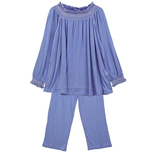 (キッドブルー)KID BLUE スモッキングベア天 長袖パジャマ 上下セット(BU-ブルー、R)