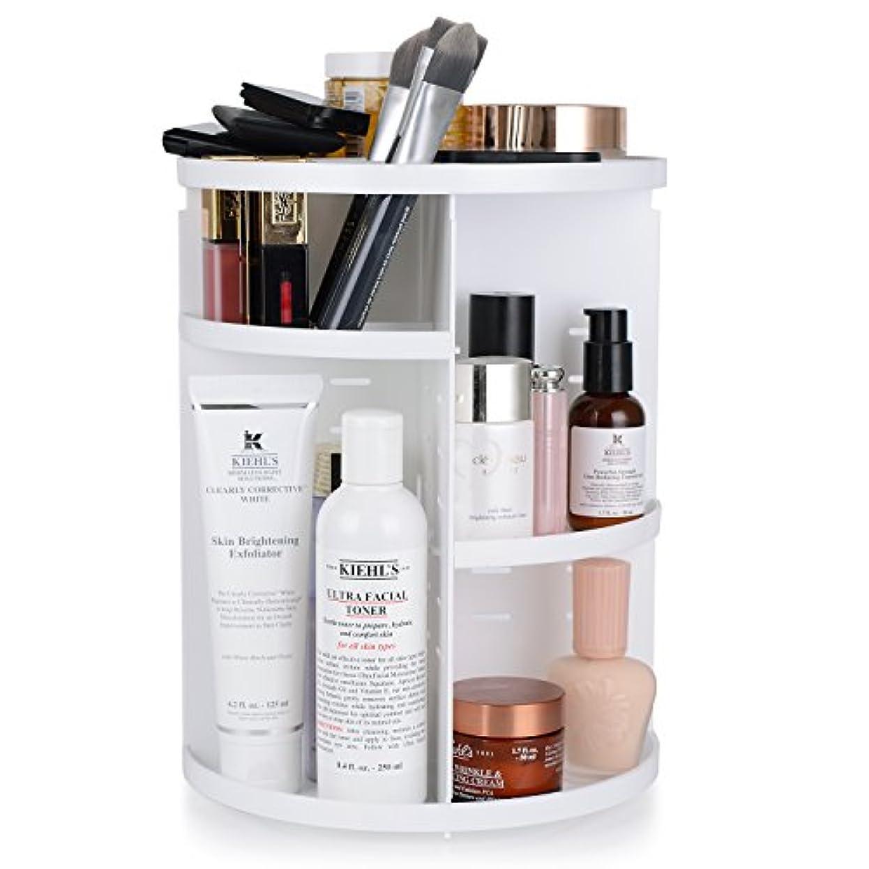 上に特徴づけるアメリカWOLFTEETH メイクボックス 化粧品収納ボックス 360度回転式 コスメ メイク収納 組み立て式 高さ調節可能 ホワイト
