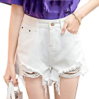 XINHEO Women Mini Jeans Shorts Ripped Hole Denim Sexy Burr Hem Shorts