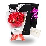 ソープフラワー 花束 プレゼント ギフト 誕生日 母の日 入学 メッセージカード付き (赤)