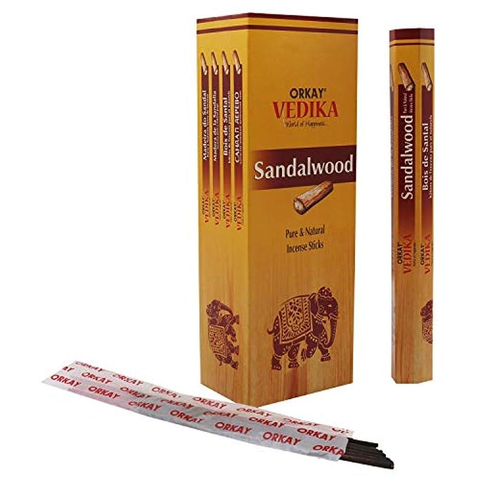 再生可能鉄勇敢なOrkay Vedika Sandalwood 6 pkt of 20 gm Each (Contains 96 Incense Sticks/Natural Agarbatti)