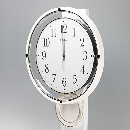 セイコー クロック 掛け時計 電波 アナログ 飾り振り子 白 PH205W SEIKO