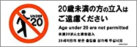 標識スクエア「 20歳未満立入不可」【ステッカー シール】ヨコ・小190×65mm CFK6101 12枚組