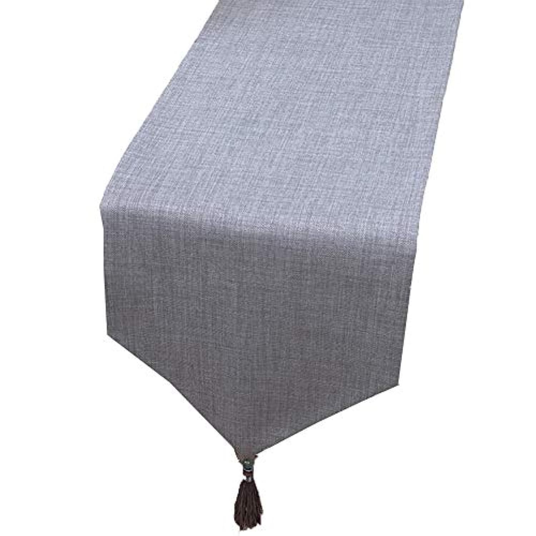 テーブルランナー ホームデコレーション 北欧 タッセル 純色 モダン おしゃれ 長方形 エレガント (Color : Gray, Size : 33×250cm)