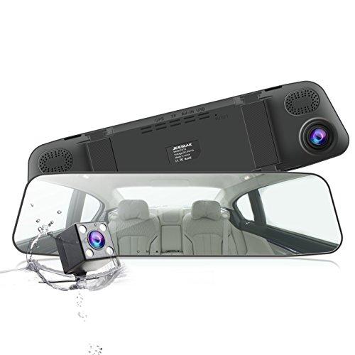 JEEMAK ミラーモニター 4.3インチ ドライブレコーダー バックミラー タッチパネル バックカメラ 170°広角 1080P 前後2カメラ 防水 Gセンサー 駐車監視 SOS緊急録画 ループ録画 日本語説明書 一年保証
