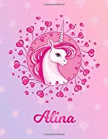 Alina: Alina Magical Unicorn Horse Large Blank Pre-K Primary Draw & Write Storybook Paper | Personalized Letter A Initial Custom First Name Cover | Story Book Drawing Writing Practice for Little Girl | Use imagination, create tales, be creative