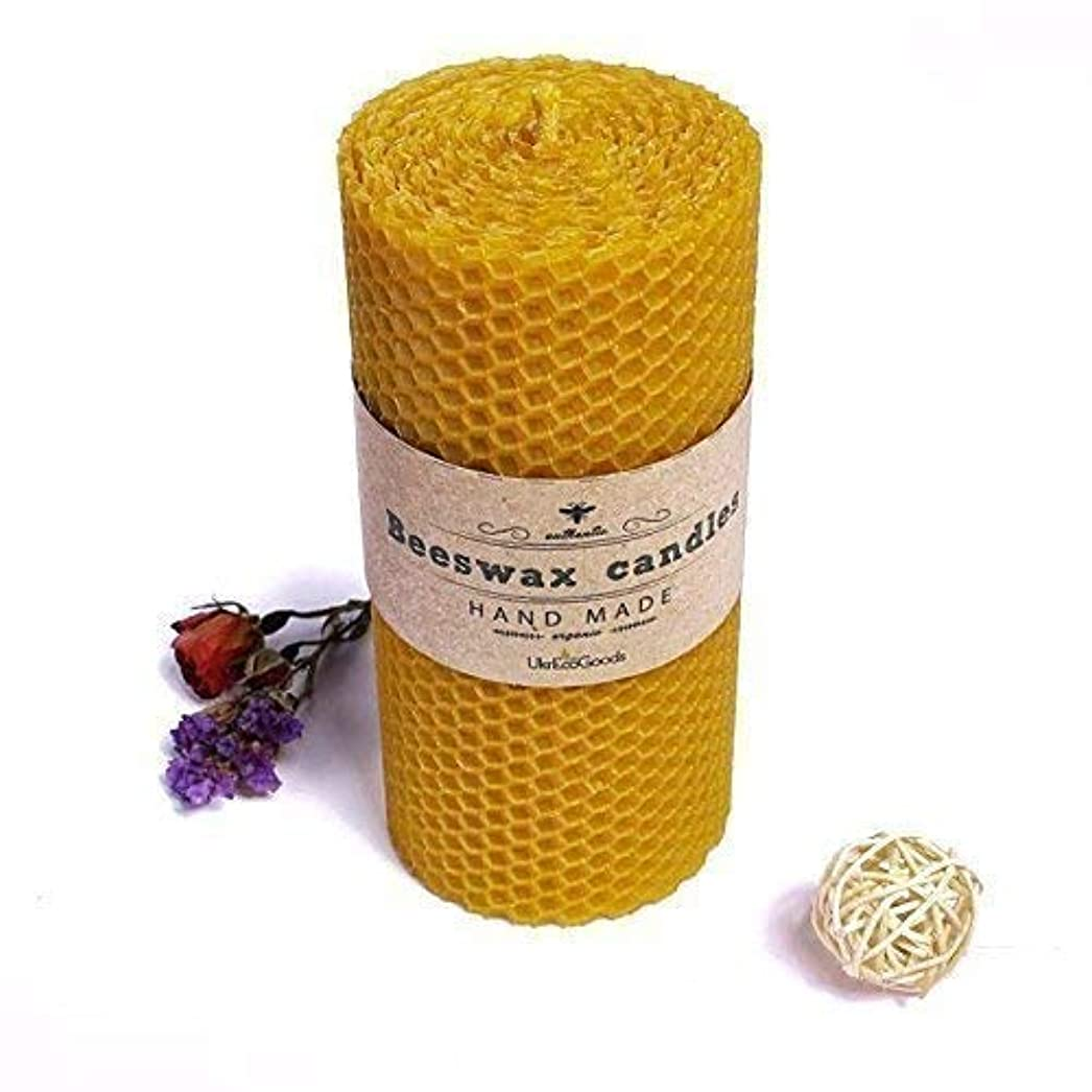 脱臼する教えるカレンダーUkrEcoGoods Beeswax Candle, 15cm Hand Rolled Pillar candle with pure natural wax scent.