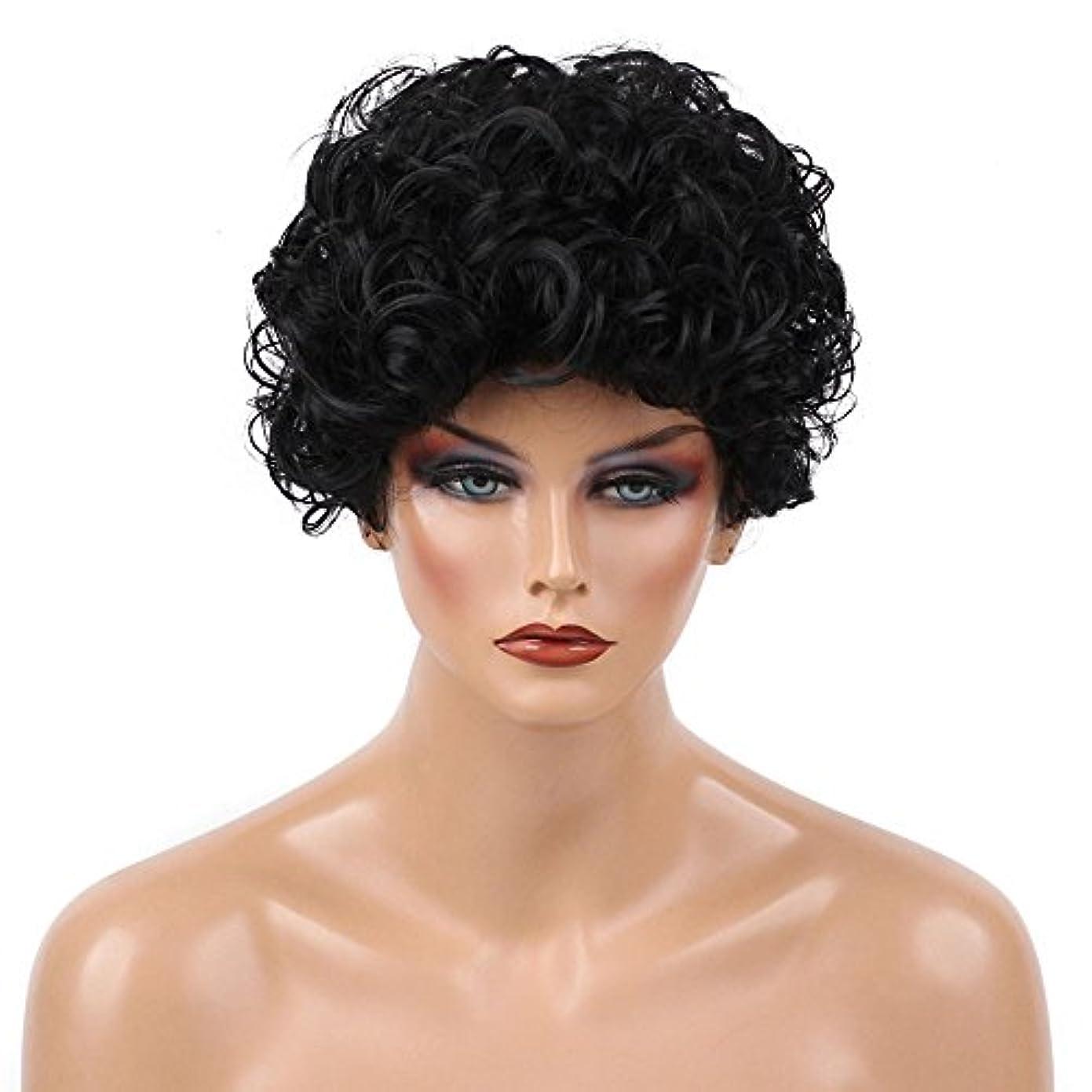 Suppion、ヨーロッパと米国ウィッグメスブラックファッションショートヘアAfricanヘアウィッグセット