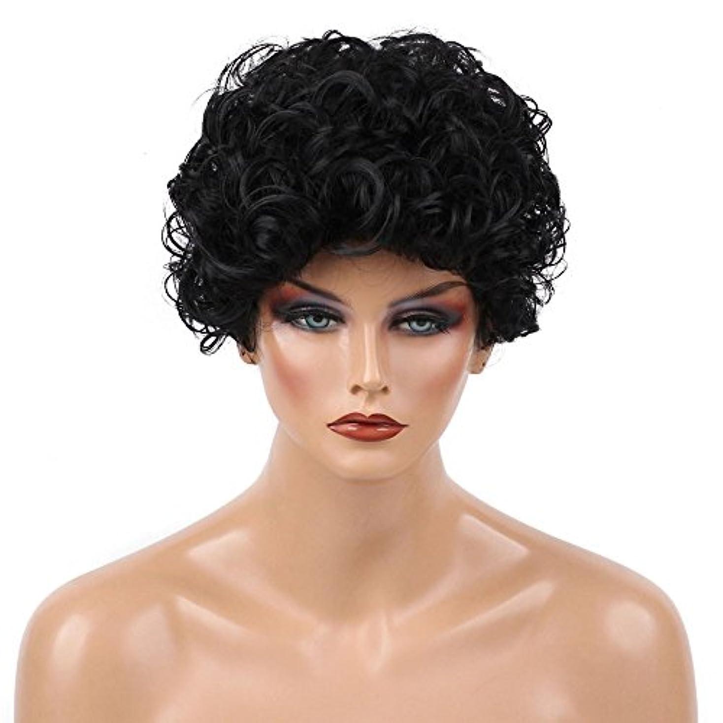 フリース武装解除悲鳴Suppion、ヨーロッパと米国ウィッグメスブラックファッションショートヘアAfricanヘアウィッグセット