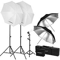 CRAPHY 写真スタジオ照明キット 2x33 ''半透明傘 + 2xブラック/シルバー反射傘 + 3x 45W 5500k電球 + 3xアルミ合金ライトスタンド + 1x電球バック+1xポータブルキャリングバッグ