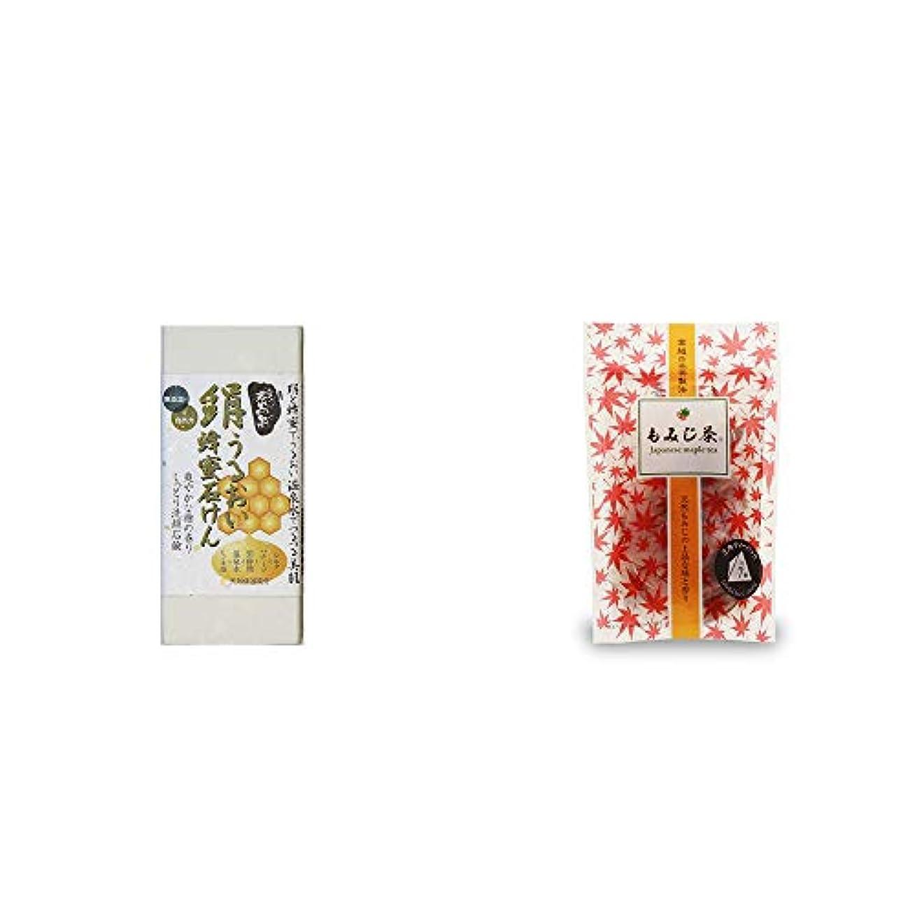 くつろぐロッジ失効[2点セット] ひのき炭黒泉 絹うるおい蜂蜜石けん(75g×2)?もみじ茶(7パック入)