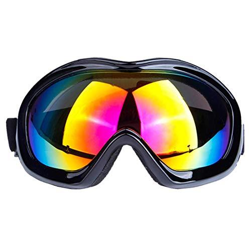 (マーセイラ)スキーゴーグル スノーゴーグル 曇り止め 紫外線防止 バイク用 ヘルメット対応 運動用 耐衝撃 防塵 防風 防雪 男女兼用 (ブラック, フリーサイズ)