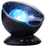 TOMNEW Remote Control Ocean Wave Projector Aurora Mood Night Light Lamp 7 Colorful Light with Bulit-in Speaker Music Player for Baby Kids Adults Bedroom Living Room (Black)