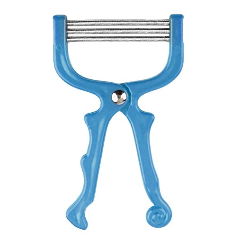 牽引画像円形安全なハンドヘルドスプリングローラー女性の顔の顔の脱毛脱毛器美容脱毛器エピローラーフェイスケアマッサージャー-ブルー