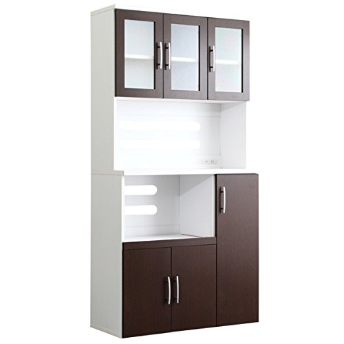 大容量!オシャレな食器棚 ホワイト×ダークブラウン(幅90c...