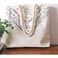 Student Tote Bag, Female Folk-custom Hemp Rope Canvas Shoulder Bag Simple File Shopping Handbag (White) Polykor