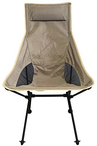 アウトドアチェア PONCOTAN ウルトラライト フィットチェア ハイバックタイプ 軽くて丈夫なジュラルミンチェアー コンパクト 折りたたみ キャンプ椅子 耐過重120kg 軽量 1.1kg (コヨーテ)