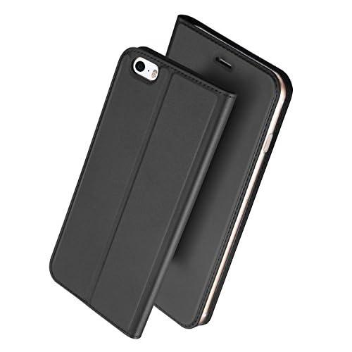 iPhone SE ケース iPhone5s ケース iPhone5ケース 手帳型 薄型 軽量 耐衝撃 耐摩擦 高級PUレザー 財布型 マグネット スタンド機能 付 き スマホケース アイフォンケース 人気 おしゃれ ケース (iPhone 5S SE 5, グレー)