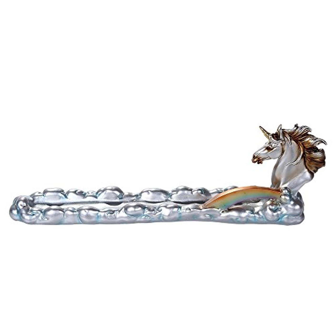 ミニチュア思い出す削るファンタジーWonderlandユニコーンoverカラフルなレインボーブリッジStick Incense Holder 12インチL