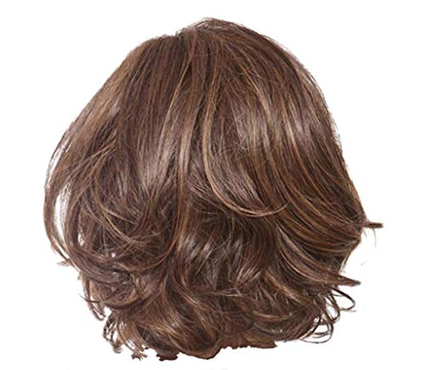 合併症含むランチョンウィッグ女性のセクシーな短い巻き毛のかつらクールなハンサムなかつら36 cm
