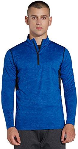 コンプレックス(KomPrexx) 長袖 スポーツ シャツ メンズ 1/4ジップ ドライ ランニングウェア MC03T(Blue,L)
