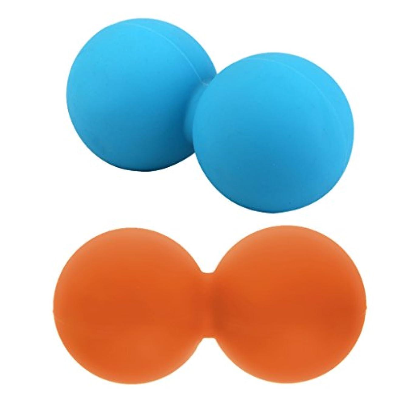百保護臭いHellery 2本 マッサージボール ピーナッツボール シリコン フィットネス ヨガ 触覚ボール 筋膜リリース