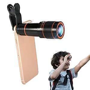 12Xズーム スマホ望遠レンズ Hizek クリップ式望遠鏡 カメラレンズ 高画質 単眼鏡 iPhone Samsungなど対応