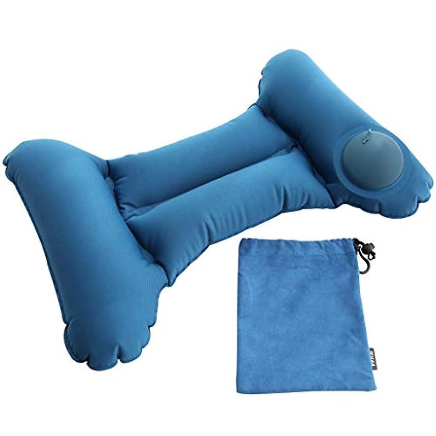 インフレータブルキャンプ枕 - キャンプ、バックパッキング、ハイキングのための軽量旅行枕屋外枕 - 飛行機、車、ビーチ、オフィスで (Color : Blue)