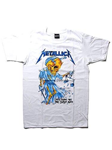 【ノーブランド品】バンドTシャツ ロックTシャツ Metallica メタリカ Lサイズ 白 白色 ホワイト