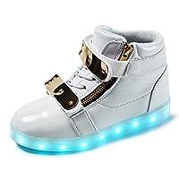 JIANXI LEDシューズ 発光シューズ 発光モード LEDスニーカー 光る靴 光るシューズ LED靴 スニーカー スポーツシューズ キッズ USB充電 子供靴 ハイカット(22.91,ホワイト)