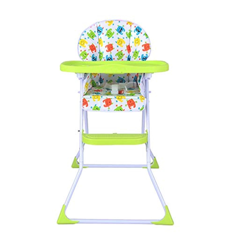 取り外し可能なトレイ、緑のオックスフォード布のクッションとホイールとダイニングテーブルのための調節可能な幼児の高い椅子を食べるためのポータブル折りたたみベビーブースターシート