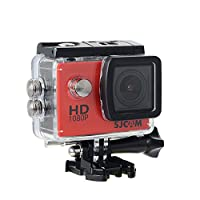 16GB TFカード+オリジナルSJCAM SJ4000フルHD 1080P 2.0インチ防水スポーツアクションカメラダイビングDV 30MカムコーダースポーツDV + 1pcsバッテリー充電器+ 1pcs余分なバッテリー(赤)