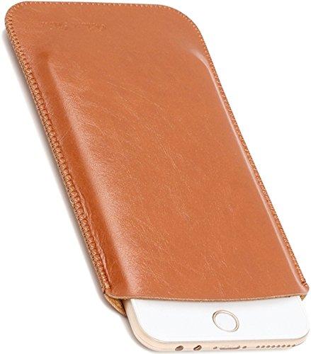 V.M 5.5 / 4.7インチ スリーブケース レザー スリップイン スマホケース 軽 薄 皮 革 4.7 スマホ スリーブ ケース iPhone 7 8 スリップインケース スリップケース スリップ インケース イン ポーチ 袋 携帯ケース ライト ブラウン iPhone8 薄茶