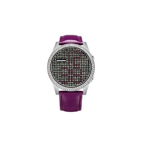 腕時計 Phosphor MD018L Appear Purple Crystal Watch with Purple Gloss Leather Strap【並行輸入品】