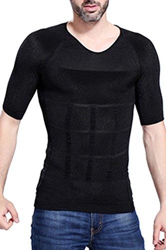 B-WINDY 加圧インナー コンプレッションウェア 無地 半袖 補正下着 着圧 Tシャツ メンズ(M,ブラック)