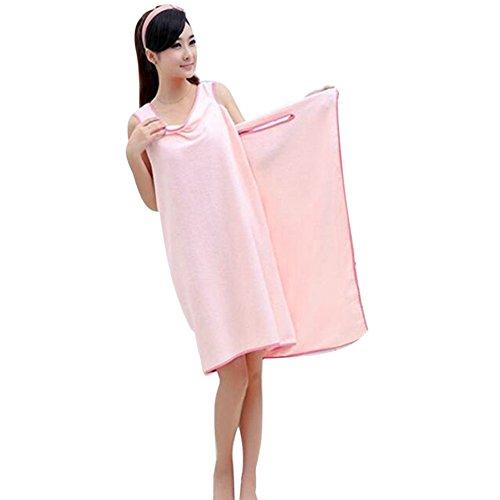 着れるバスタオル 落ちない バスローブ マイクロファイバー  レディース・可愛い風 ・ママ ・メンズ 超吸水 便利 お風呂上がり プール ジム (ピンク(155*80cm))