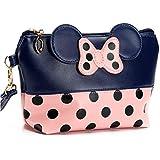 Cartoon Leather Travel Makeup Handbag, Cute Portable Cosmetic bag Toiletry (Navy Blue)
