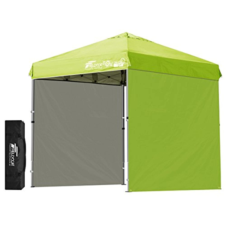 FIELDOOR 組立て簡単!! ワンタッチタープテント G03 軽量アルミフレーム 3.0m/2.5m/2.0m 専用横幕/サイドシート2枚付属 風抜けベンチレーション 高耐水加工&シルバーUVカットコーティング 紫外線カット 遮熱