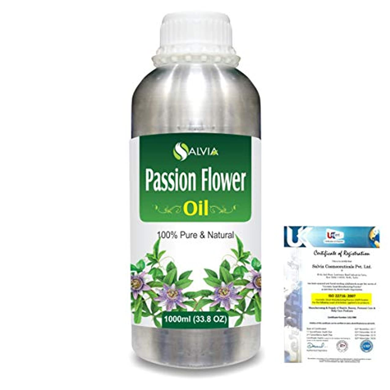 同級生インサート呼吸するPassion Flower (Passiflora) Natural Pure Undiluted Uncut Carrier Oil 1000ml/33.8 fl.oz.