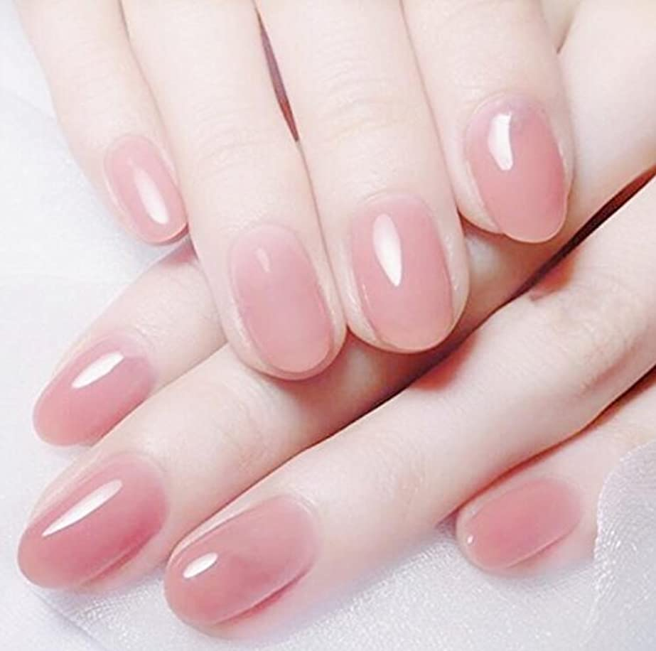 フォーク女の子補う24 pcs ネイルチップ 夏の 無地 透明 ゼリー ピンク 可愛い ウェディング ブライダル 優雅 短い