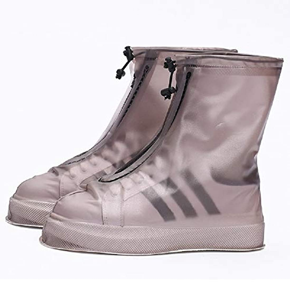 商標ランドマークライラック防水靴カバー、再利用可能なレインブーツ滑り止めサイクリングオーバーシューズ4色 (Color : Black, Size : EU-42)