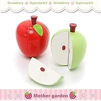 マザーガーデン Mother garden 木のおままごと りんご 2個セット 赤 青 〔お料理 ごっこ 食材〕 果物 木製 おままごとセット