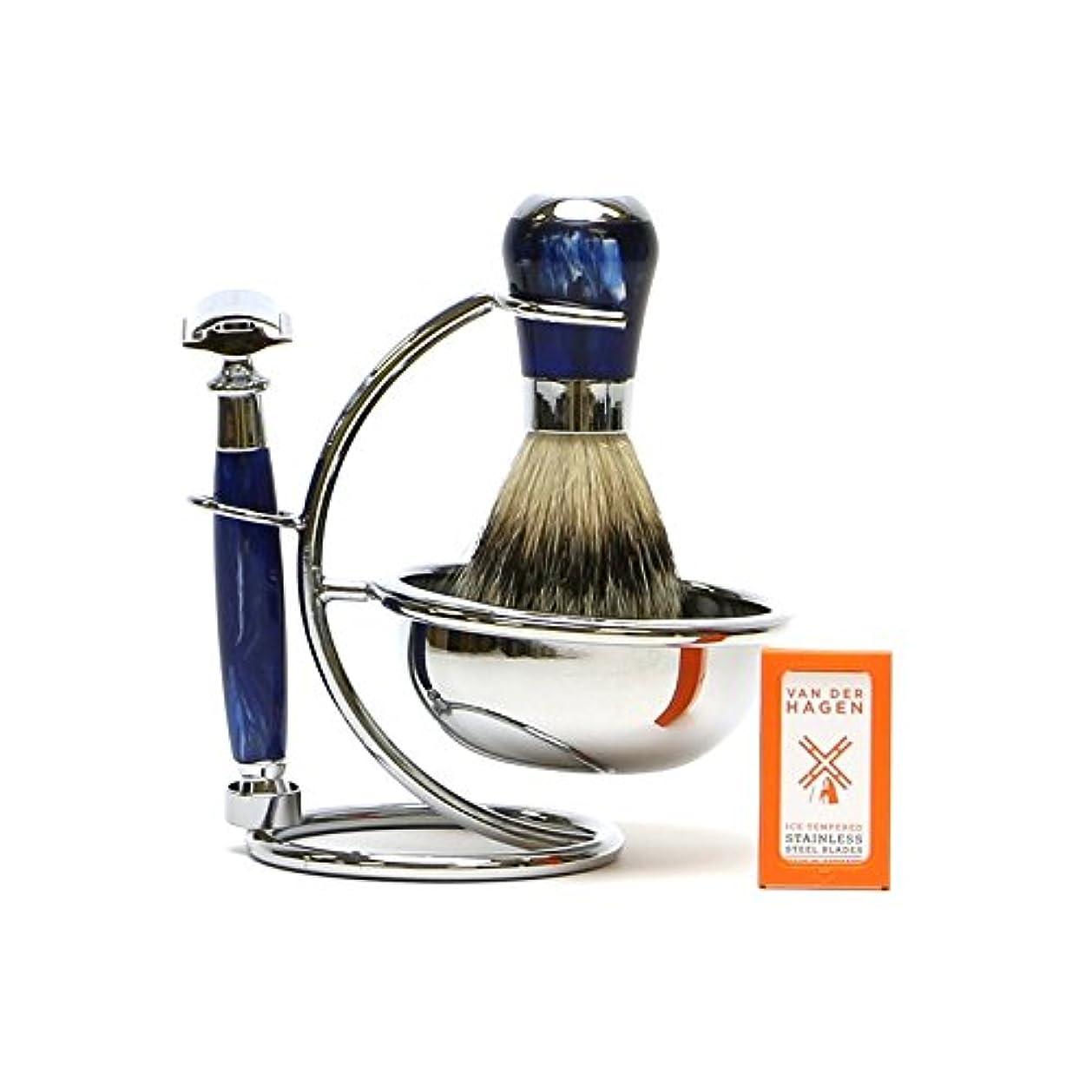 有彩色の違反する乳白色VANDERHAGEN(米) ウェットシェービングセット ナイトスター 両刃 髭剃り 替刃5枚付
