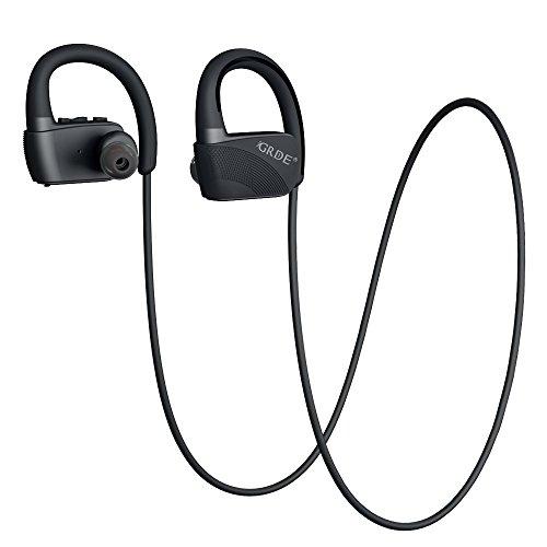 GRDE Bluetooth4.1イヤホン ワイヤレス スポーツイヤホン IPX7対応 CVC6.0 ノイズキャンセリング 防水式 Bluetooth ヘッドホン 防滴シリカゲル耳かけ 内装マイク付き 8時間の音楽エンジョイ iphone/ipad/Androidなどのスマホ設備に対応 GL01(ブラック)