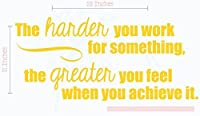 "Wall Decor Plus More WDPM4572 More the Harder You Work, the Greater You Feel Wall Vinyl Decals Lettering Sticker Inspirational Quote Decor, 23""X 11"", Yellow [並行輸入品]"