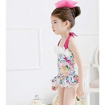 9c6d44a76c87c (モモデリ) MOMODELI 子供 用 女の子 水着 花柄 ワンピース 帽子付 海 プール 90