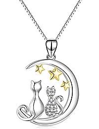 猫 ネックレス レディース シルバー925製 アレルギー対応 ネコペンダント 星 月 ねこ三日月と佇む 恋人プレゼント 2匹 ねこモチーフ 月 ネックレス